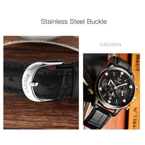 Cadisen Watch Men Sport Chronograph Clock Quartz Wristwatch Business Waterproof Watch Men
