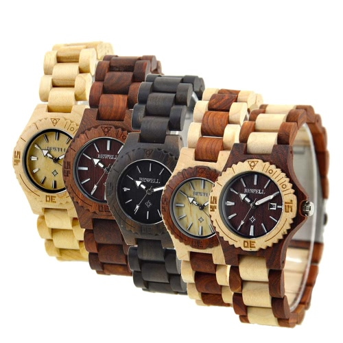 BEWELL High Quality Environmental Natural Wood Lightweight Wristwatch Water Resistant Excellent Women Quartz Watch with CalendarApparel &amp; Jewelry<br>BEWELL High Quality Environmental Natural Wood Lightweight Wristwatch Water Resistant Excellent Women Quartz Watch with Calendar<br>