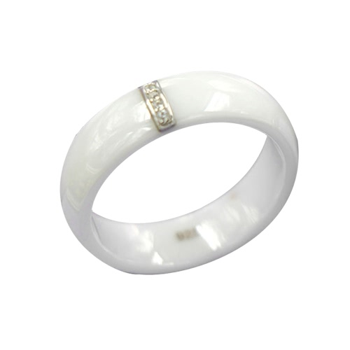 Polished Nano Ceramic with S925 Sterling Silver &amp; CZ Diamond Embedded White Gold Electroplated Dome RingApparel &amp; Jewelry<br>Polished Nano Ceramic with S925 Sterling Silver &amp; CZ Diamond Embedded White Gold Electroplated Dome Ring<br>