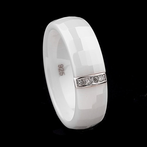 Polished Nano Ceramic Dome with S925 Sterling Silver &amp; CZ Diamond Embedded White Gold Electroplated RingApparel &amp; Jewelry<br>Polished Nano Ceramic Dome with S925 Sterling Silver &amp; CZ Diamond Embedded White Gold Electroplated Ring<br>
