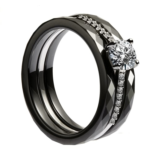 Nano Ceramic &amp; S925 Sterling Silver with CZ Diamond Embedded White Gold Electroplated Polished RingApparel &amp; Jewelry<br>Nano Ceramic &amp; S925 Sterling Silver with CZ Diamond Embedded White Gold Electroplated Polished Ring<br>