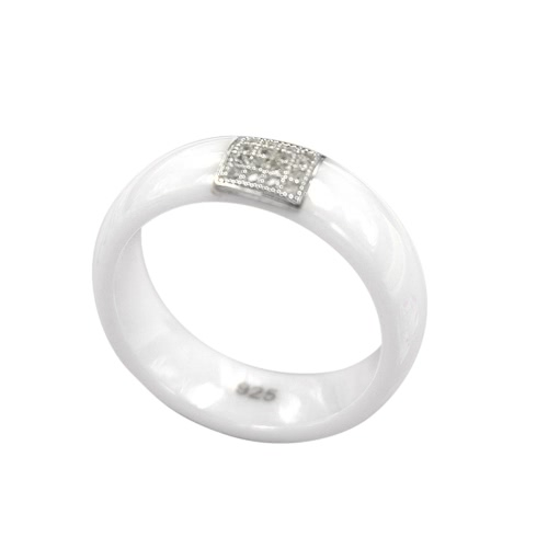 Nano Ceramic &amp; S925 Sterling Silver Dome Polished with CZ Diamond Embedded White Gold Electroplated RingApparel &amp; Jewelry<br>Nano Ceramic &amp; S925 Sterling Silver Dome Polished with CZ Diamond Embedded White Gold Electroplated Ring<br>