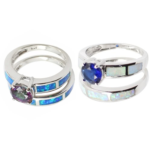 925 Sterling Silver Fashion 2Pcs Stackable Simulated Opal Band Ring Set with CZ Diamond Women Bridal Wedding Engagement JewelryApparel &amp; Jewelry<br>925 Sterling Silver Fashion 2Pcs Stackable Simulated Opal Band Ring Set with CZ Diamond Women Bridal Wedding Engagement Jewelry<br>