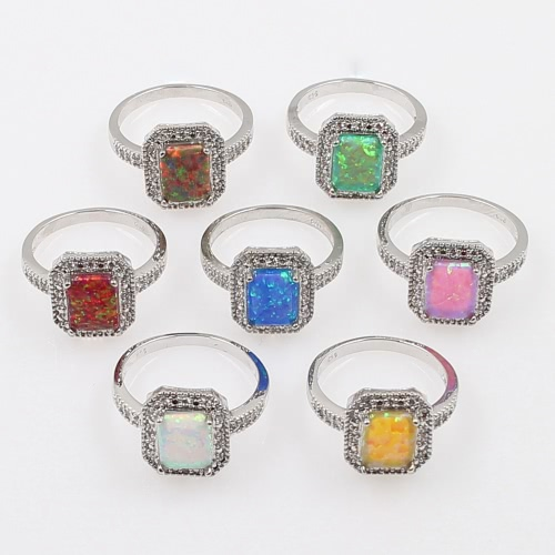 925 Sterling Silver Fashion CZ Diamond Square Cubic Simulated Opal Ring Women Girl Wedding Engagement JewelryApparel &amp; Jewelry<br>925 Sterling Silver Fashion CZ Diamond Square Cubic Simulated Opal Ring Women Girl Wedding Engagement Jewelry<br>
