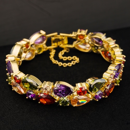 Fashion New Unique Colorful Zircon Rhinestone Crystal Gold Plated Bracelet Bangle for Woman Girl Wedding Gift PartyApparel &amp; Jewelry<br>Fashion New Unique Colorful Zircon Rhinestone Crystal Gold Plated Bracelet Bangle for Woman Girl Wedding Gift Party<br>