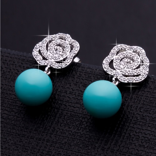 Fashion Charm Unique Bead Zircon Rhinestone Crystal White Gold Plated Copper Earring Ear Dangle Jewelry for WomenApparel &amp; Jewelry<br>Fashion Charm Unique Bead Zircon Rhinestone Crystal White Gold Plated Copper Earring Ear Dangle Jewelry for Women<br>