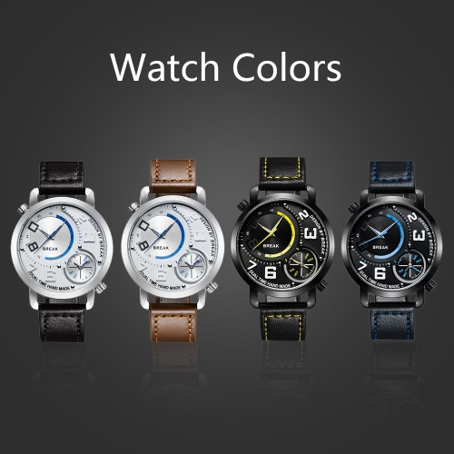 BREAK Fashion Innovative Dual Time Display Quartz Men Watches Luxury PU Leather 30M Water-Proof Man Casual Wristwatch Best Gift +Apparel &amp; Jewelry<br>BREAK Fashion Innovative Dual Time Display Quartz Men Watches Luxury PU Leather 30M Water-Proof Man Casual Wristwatch Best Gift +<br>