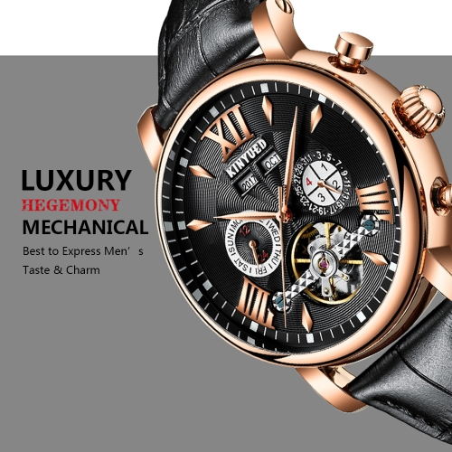 KINYUED Luxury Skeleton Self Wind Automatic Mechanical Men WatchApparel &amp; Jewelry<br>KINYUED Luxury Skeleton Self Wind Automatic Mechanical Men Watch<br>