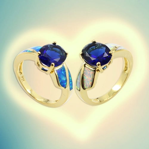 Fashion CZ Diamond Simulated Opal 925 Sterling Silver Ring Gold Plated Women Girl Wedding Engagement Jewelry AccessoryApparel &amp; Jewelry<br>Fashion CZ Diamond Simulated Opal 925 Sterling Silver Ring Gold Plated Women Girl Wedding Engagement Jewelry Accessory<br>