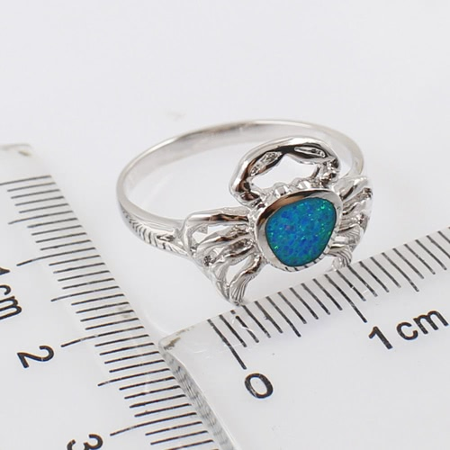 Fashion 925 Sterling Silver Simulated Opal Lovely Crab Ring Women Girl Wedding Engagement Jewelry AccessoryApparel &amp; Jewelry<br>Fashion 925 Sterling Silver Simulated Opal Lovely Crab Ring Women Girl Wedding Engagement Jewelry Accessory<br>