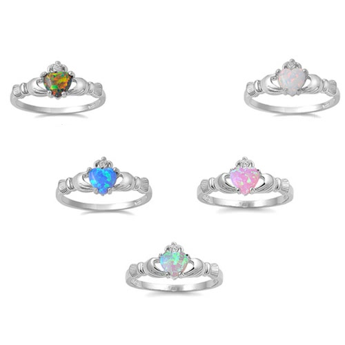 New Fashion Women Crown Hands Heart Simulated Opal Ring 925 Sterling Silver Wedding Engagement Love JewelryApparel &amp; Jewelry<br>New Fashion Women Crown Hands Heart Simulated Opal Ring 925 Sterling Silver Wedding Engagement Love Jewelry<br>