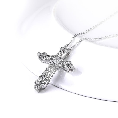 JURE Fashionable S925 Sterling Silver Pendant Rotatable Zirconia Pendant Cross-shaped Necklace 18 InchApparel &amp; Jewelry<br>JURE Fashionable S925 Sterling Silver Pendant Rotatable Zirconia Pendant Cross-shaped Necklace 18 Inch<br>