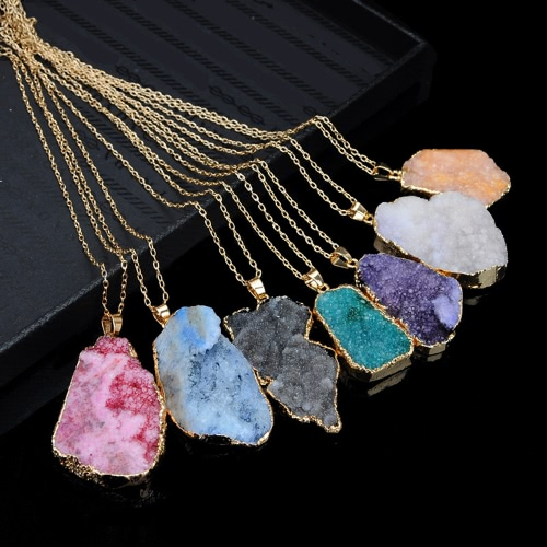 Natural Stone Crystal Pendant Necklace Clavicle Chain Sweater Chain for Men Women Jewelry AccessoryApparel &amp; Jewelry<br>Natural Stone Crystal Pendant Necklace Clavicle Chain Sweater Chain for Men Women Jewelry Accessory<br>