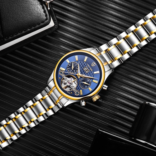 TEVISE Luminous Luxury Automatic Mechanical Watch Water-Proof Stainless Steel Men Business Wristwatch Calendar/Week/Month + BoxApparel &amp; Jewelry<br>TEVISE Luminous Luxury Automatic Mechanical Watch Water-Proof Stainless Steel Men Business Wristwatch Calendar/Week/Month + Box<br>