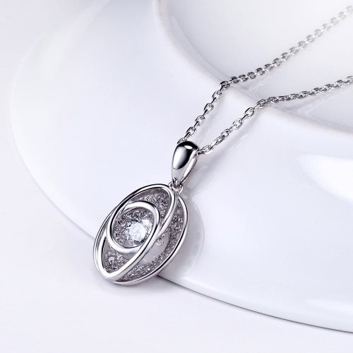 JURE Fashionable S925 Sterling Silver Pendant Rotatable Zirconia Sparkle Pendant Necklace 18 InchApparel &amp; Jewelry<br>JURE Fashionable S925 Sterling Silver Pendant Rotatable Zirconia Sparkle Pendant Necklace 18 Inch<br>