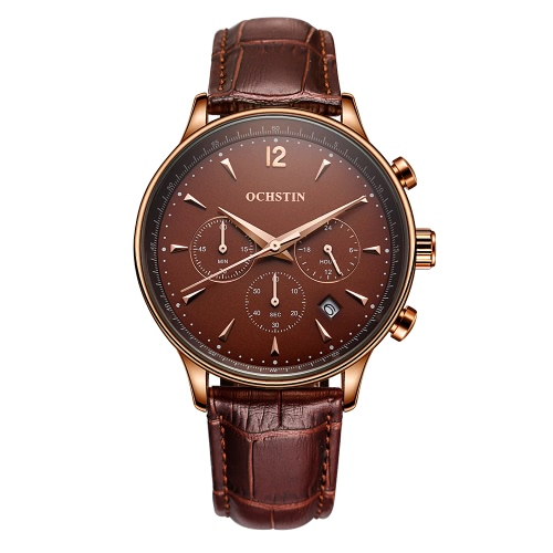 OCHSTIN New Luxury Brand Genuine Leather Men Business Watch Quartz Analog Water-Proof Mans Wristwatch Chronograph Calendar + BoxApparel &amp; Jewelry<br>OCHSTIN New Luxury Brand Genuine Leather Men Business Watch Quartz Analog Water-Proof Mans Wristwatch Chronograph Calendar + Box<br>