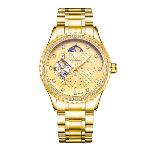 TEVISE Brand Luxury Luminous Skeleton Automatic Mechanical Men Watch Water-Proof Stainless Steel Band Man Business Watch W/ Moon PApparel &amp; Jewelry<br>TEVISE Brand Luxury Luminous Skeleton Automatic Mechanical Men Watch Water-Proof Stainless Steel Band Man Business Watch W/ Moon P<br>
