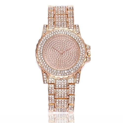 Montre de mode de luxe plein de diamant en cristal en acier inoxydable bande Quartz montre bracelet Lady robe élégante montre-bracelet