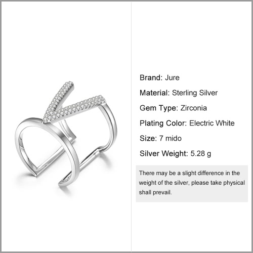 JURE 925 Sterling Silver Ring Zirconia V-shaped Wedding Engagement Ring Proposal Bridal Halo ReplacementApparel &amp; Jewelry<br>JURE 925 Sterling Silver Ring Zirconia V-shaped Wedding Engagement Ring Proposal Bridal Halo Replacement<br>
