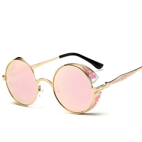 Классические солнцезащитные очки Steampunk Euramerican Round Metal Резные ослепительные солнцезащитные очки Модный аксессуар