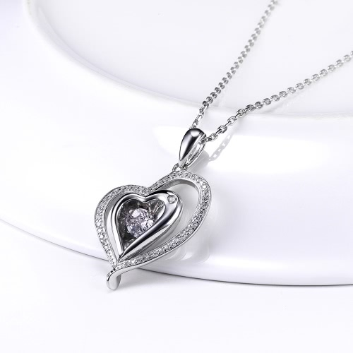 JURE Fashionable S925 Sterling Silver Pendant Rotatable Zirconia Sparkle Pendant Heart-shaped Necklace 18 InchApparel &amp; Jewelry<br>JURE Fashionable S925 Sterling Silver Pendant Rotatable Zirconia Sparkle Pendant Heart-shaped Necklace 18 Inch<br>