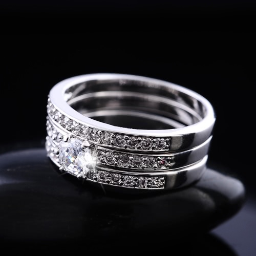 Fashion Unique Hot Charming White Gold Plated Zircon Rhinestone Crystal Paved 3 Round Rings Set Jewelry Accessory for Woman Girl WApparel &amp; Jewelry<br>Fashion Unique Hot Charming White Gold Plated Zircon Rhinestone Crystal Paved 3 Round Rings Set Jewelry Accessory for Woman Girl W<br>