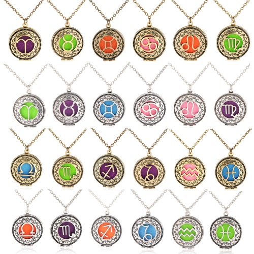 Perfume Essential Oil Diffuser Zodiac Sign Round Pendant NecklaceApparel &amp; Jewelry<br>Perfume Essential Oil Diffuser Zodiac Sign Round Pendant Necklace<br>