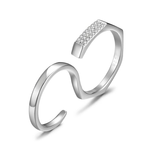 JURE 925 Sterling Silver Ring Zirconia Engagement Multi-finger Ring