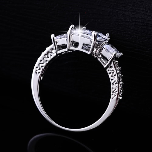 Fashion Unique Hot Charm White Gold Plated Rectangle Zircon Rhinestone Crystal Ring Jewelry Accessory for Woman Girl Wedding GiftApparel &amp; Jewelry<br>Fashion Unique Hot Charm White Gold Plated Rectangle Zircon Rhinestone Crystal Ring Jewelry Accessory for Woman Girl Wedding Gift<br>