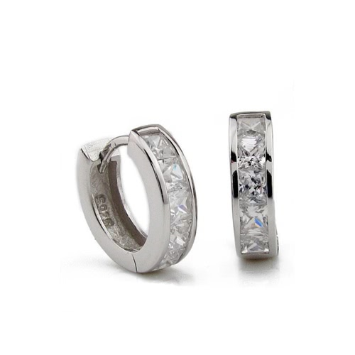 Fashion Accessory Simple Design Mens Silver Plated Small Round Square Crystal Hoop Huggie EarringsApparel &amp; Jewelry<br>Fashion Accessory Simple Design Mens Silver Plated Small Round Square Crystal Hoop Huggie Earrings<br>