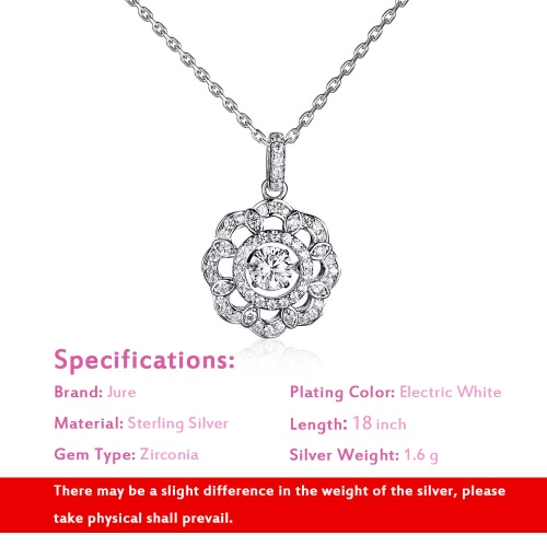 JURE Fashionable S925 Sterling Silver Pendant Rotatable Zirconia Sparkle Pendant Flower-shaped Necklace 18 InchApparel &amp; Jewelry<br>JURE Fashionable S925 Sterling Silver Pendant Rotatable Zirconia Sparkle Pendant Flower-shaped Necklace 18 Inch<br>