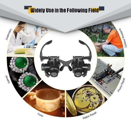 Professional Head Wearing Magnifying Glass W/ LED Lights 10x 15x 20x 25x Jeweler Loupe Watch Repair Magnifier Tool + Replaceable LApparel &amp; Jewelry<br>Professional Head Wearing Magnifying Glass W/ LED Lights 10x 15x 20x 25x Jeweler Loupe Watch Repair Magnifier Tool + Replaceable L<br>