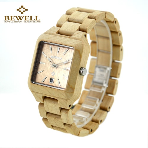 BEWELL Healthy Hypoallergenic Wooden Quartz Analog Watch with CalendarApparel &amp; Jewelry<br>BEWELL Healthy Hypoallergenic Wooden Quartz Analog Watch with Calendar<br>