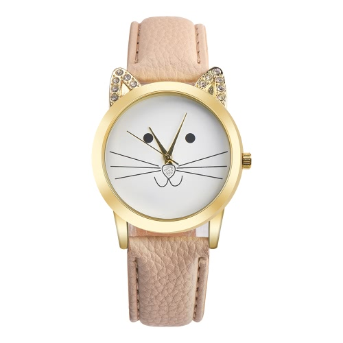 New Fashion Women All-match Accessory Neutral Diamond Lovely Cats Face Faux Leather band Quartz WatchApparel &amp; Jewelry<br>New Fashion Women All-match Accessory Neutral Diamond Lovely Cats Face Faux Leather band Quartz Watch<br>