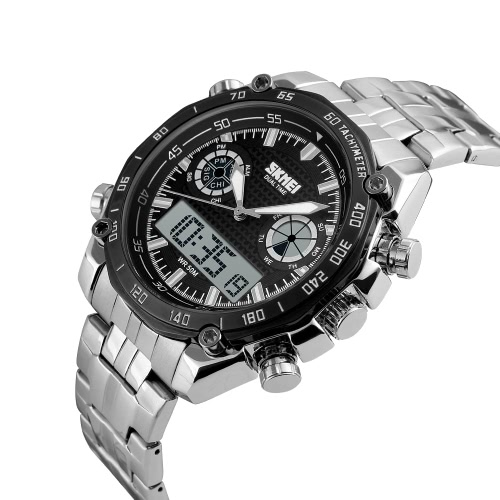 SKMEI 3ATM Water Resistant Analog-Digital Dual Time High-end Men Business Watch with Chronograph Date Alarm Noble Wrist Watch 2 TiApparel &amp; Jewelry<br>SKMEI 3ATM Water Resistant Analog-Digital Dual Time High-end Men Business Watch with Chronograph Date Alarm Noble Wrist Watch 2 Ti<br>