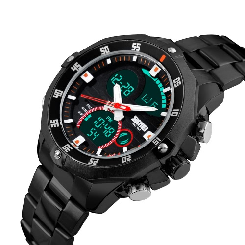 SKMEI Practical Trendy Analog-Digital Dual Time Men Watch 3ATM Water Resistant Wrist Watch with Chronograph Date Alarm 2 Time ZoneApparel &amp; Jewelry<br>SKMEI Practical Trendy Analog-Digital Dual Time Men Watch 3ATM Water Resistant Wrist Watch with Chronograph Date Alarm 2 Time Zone<br>