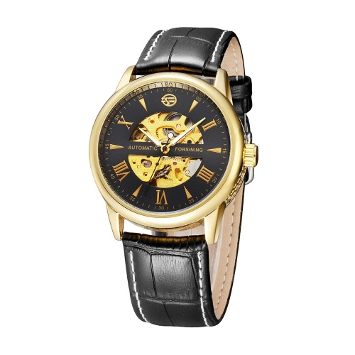 FORSINING See-through Skeleton Self-winding Automatic Mechanical Watch PU Leather Watchband Delicate Business Analog Man WristwatcApparel &amp; Jewelry<br>FORSINING See-through Skeleton Self-winding Automatic Mechanical Watch PU Leather Watchband Delicate Business Analog Man Wristwatc<br>
