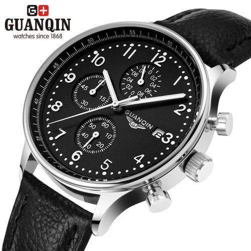 GUANQIN Luxury Brand Fashion Genuine Leather Men Casual Quartz Watch 30M Waterproof Calendar Male Business Watch with 3 Sub-dialsApparel &amp; Jewelry<br>GUANQIN Luxury Brand Fashion Genuine Leather Men Casual Quartz Watch 30M Waterproof Calendar Male Business Watch with 3 Sub-dials<br>