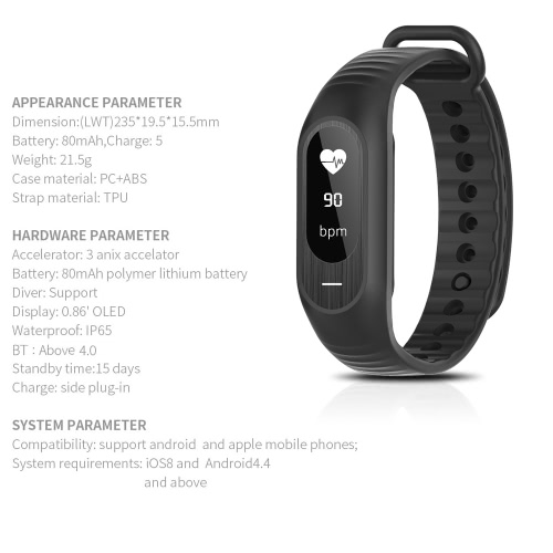 BOZLUN BT4.0 Water-Proof Touch Screen OLED Smart Sports Bracelet Watch Heart Rate/Blood Pressure/Sleep Monitor Pedometer Calorie FApparel &amp; Jewelry<br>BOZLUN BT4.0 Water-Proof Touch Screen OLED Smart Sports Bracelet Watch Heart Rate/Blood Pressure/Sleep Monitor Pedometer Calorie F<br>