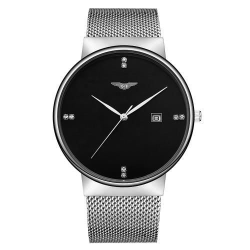 GUANQIN inoxidable de malla de acero correa de reloj de cuarzo analógico de moda, hombre del reloj del negocio del Rhinestone marcadores de hora