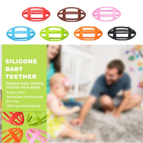 Cute BPA Free Rugby-shaped Infant Children Silicone Teething Massager Training Tooth Baby Teether Toys Toddler GiftApparel &amp; Jewelry<br>Cute BPA Free Rugby-shaped Infant Children Silicone Teething Massager Training Tooth Baby Teether Toys Toddler Gift<br>