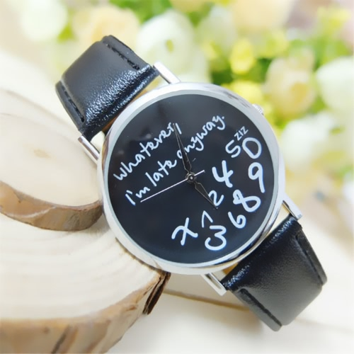 OKTIME Hot Fashion Women Leather Watch Wathever I am Late Anyway Letter Quartz Alloy Watches NewApparel &amp; Jewelry<br>OKTIME Hot Fashion Women Leather Watch Wathever I am Late Anyway Letter Quartz Alloy Watches New<br>