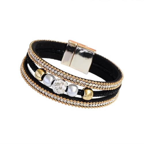 Fashion Women Multi-layer Bangle Bracelet Crystal Beaded Leather Magnetic Unisex Type WristbandApparel &amp; Jewelry<br>Fashion Women Multi-layer Bangle Bracelet Crystal Beaded Leather Magnetic Unisex Type Wristband<br>