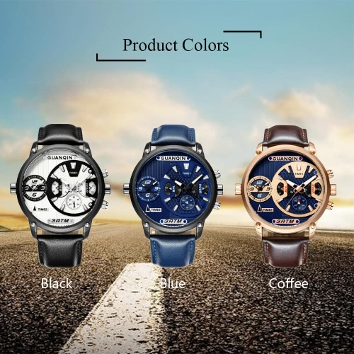 GUANQIN Sapphire Luminous Dual Time Display Quartz Men Watch Sports Chronograph Leather Water-Proof Man Casual Wristwatch + BoxApparel &amp; Jewelry<br>GUANQIN Sapphire Luminous Dual Time Display Quartz Men Watch Sports Chronograph Leather Water-Proof Man Casual Wristwatch + Box<br>