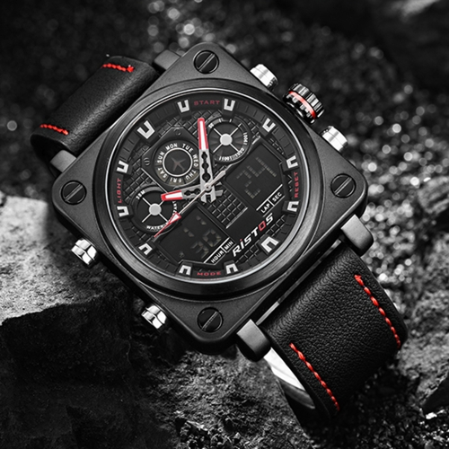 RISTOS Water-proof Dual Display Digital Quartz Men Watch Leather Band Chrono Sports Military Men Watch Clock Backlight + BoxApparel &amp; Jewelry<br>RISTOS Water-proof Dual Display Digital Quartz Men Watch Leather Band Chrono Sports Military Men Watch Clock Backlight + Box<br>