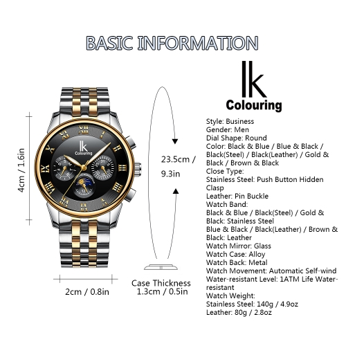 IKColouring Fashion Business Automatic Men Watches 1ATM Life Water-resistant Luminous Mechanical Man Wristwatch Calendar Moon PhasApparel &amp; Jewelry<br>IKColouring Fashion Business Automatic Men Watches 1ATM Life Water-resistant Luminous Mechanical Man Wristwatch Calendar Moon Phas<br>
