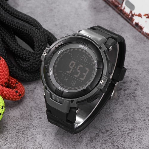 OHSEN Luxury 5ATM Water-Proof Digital Men Sports Watch Rubber Band Big Dial Outdoor Casual Wristwatch Alarm/Calendar/Stopwatch MasApparel &amp; Jewelry<br>OHSEN Luxury 5ATM Water-Proof Digital Men Sports Watch Rubber Band Big Dial Outdoor Casual Wristwatch Alarm/Calendar/Stopwatch Mas<br>