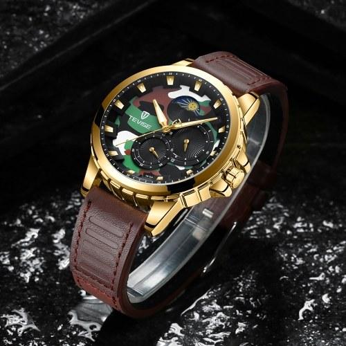 TEVISE T815A Stainless Steel Watch Wrist Watch Top Brand Luxury Quartz Watch Men Casual Leather Luminous Waterproof Moon phase Watch