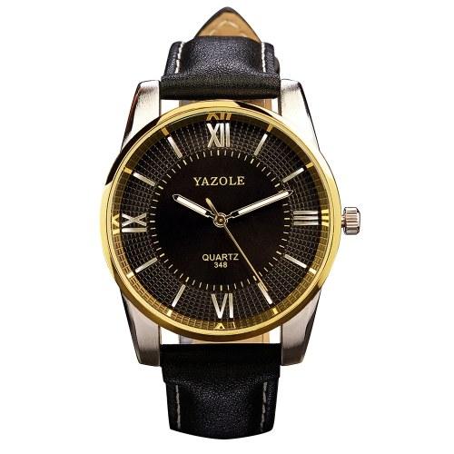 Reloj de pulsera de lujo de la escala romana de cuero de la PU de los hombres de YAZOLE 348 reloj superior de la marca