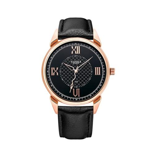 YAZOLE 424 reloj de cuero reloj de cuarzo diario resistente al agua simple reloj de pulsera de negocios